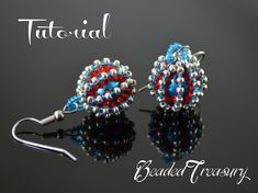 """Beaded Delights"" beadwoven earrings tutorial. Learn to create yourself these beautiful earrings! With this pattern you can also create beaded beads to be used in different beaded projects."