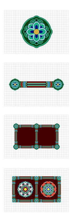 Korean Traditional Pattern Design [단청] on Pantone Canvas Gallery Korea Design, Asian Design, Korean Traditional Clothes, Pattern Art, Pattern Design, Korean Painting, Chinese Patterns, Tibetan Art, Exhibition
