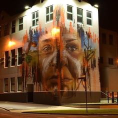 The Ngatanwarr mural on the South West TAFE building in #Warrnambool is now even more breathtaking at night thanks to new lights funded by the A.L. Lane Foundation. #art #streetart #mural by warrnamboolcity