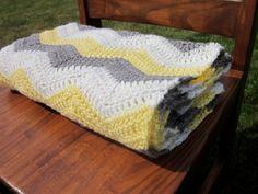 Crochet Chevron Blanket Baby  Ripple Yellow Gray White. $45.00, via Etsy.