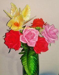 Rosas grandes 12 x 12 cm en goma eva termoformadas