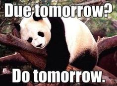 Due tomorrow, Do tomorrow