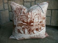French Country Home Decorative Pillow Cover with Vintage French Linen on Back