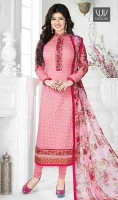 Ayesha Takia Pink,Beige Color Chiffely Designer Salwar Suit  Be prepared to slip with the comfort zone of Ayesha Takia pink color Chiffely designer salwar suit . It is really uniquely crafted with embroidered, patch border and resham work