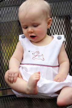 For hot summer days, what could be cooler than a white pique' sunsuit? The design for the hand embroidered puppy is include. Sewing Projects For Kids, Sewing For Kids, Baby Sewing, Sewing Ideas, Baby Pattern, Childrens Sewing Patterns, Baby Embroidery, One Clothing, Heirloom Sewing