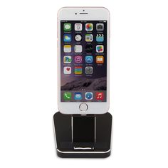"""iPhone Desk Charger Dock with 2 Lightning cables for iPhone7/7S/7PLUS/6/6S/6PLUS/SE/5S/S/Samsung S7/S7 eage (Case Compatible Design) Black. PRODUCT DIMENSIONS: 3.19""""*3.7""""*3.77"""" Item Weight : 14 ounces. MATERIAL: Made of royal aluminum alloy,environmentally-friendly TPU and ABS. COMPATIBILITY: two magnetic cables,one for iPhone 5 / 5S / 5C / 6 / 6s / 6 Plus / 6s Plus / iPad mini / iPad mini 4 / iPad Air /,one for Android mobile phone. Steady and Safety : A great place to keep your iWatch..."""