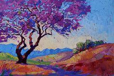 Jacaranda tree in bloom, painted in colorful oils by artist Erin Hanson. Turquoise Artwork.