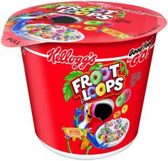 Kellogg's Froot Loops, Breakfast Cereal in a Cup, Low Fat, Bulk Size, Ounce Count) Fruit Loop Treats, Fruit Loops Cereal, Froot Loops, Little Girl Makeup Kit, Cereal For Diabetics, Minute To Win It Games, Breakfast Cereal, Breakfast Kids, Home Decor Accessories