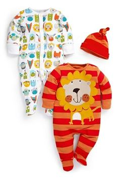 Buy Orange Lion Sleepsuits Two Pack (0mths-2yrs) from the Next UK online shop