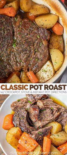 Classic Pot Roast is comfort food at its best made with potatoes and carrots slow roasted in the oven is the perfect weekend dinner ready in 3 hours potroast slowcooker instantpot chuckroast beef dinner roast crockpot dinnerthendessert # Crock Pot Recipes, Roast Beef Recipes, 2 Lb Roast Recipe, Recipe For Pot Roast In The Oven, Recipe For Chuck Roast, Roast Beef In Oven, Chuck Roast In Oven, Roast Beef Dishes, Boneless Chuck Roast Recipes