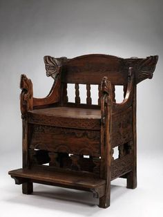 Gaara (Gårå/ Gåra) Chair. Said to be from lost Gåra stave church in Bø. Dated from late 13th to 15th or even 17th century.