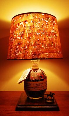 Blanton's Bourbon Bottle Lamp with custom stained stand Lampshade Chandelier, Bottle Chandelier, Whiskey Bottle Crafts, Blanton's Bourbon, Whiskey Room, Bottle Lights, Bottle Lamps, Alcohol Bottles, Liquor Bottles