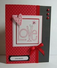 handmade valentine ... luv the band of gray & black striped paper in the background ... lovely design ...
