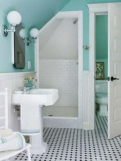 Cozy small bathroom ideas- Love this blue/teal color!! Starting to wonder if I should do some wainscoting on the walls.. hmmm..