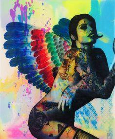 Pop art, Ben Allen artists, Angel, colourful nude painting grafitti