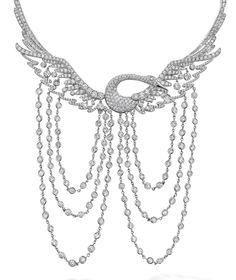 Wild Swan necklace in platinum, set with 19.03ct of round-brilliant cut diamonds. Boodles
