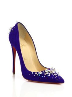 CHRISTIAN LOUBOUTIN Canditate Pearly Suede Point-Toe Pumps. #christianlouboutin #shoes #pumps