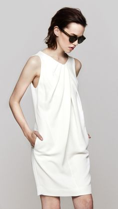 L'Agence Drape Front Sleeveless Dress in White | The Dreslyn