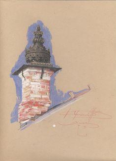 "La maison ""pipe"" Klioutchevski Toned Paper, Painting, Home, Painting Art, Paintings, Painted Canvas, Drawings"