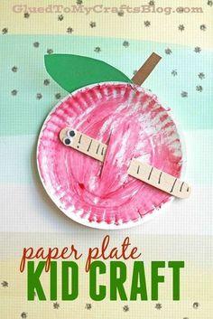 Pappteller Apple w / Popsicle Stick Worm - Kid Craft Idee Paper Plate Apple w/Popsicle Stick Worm - Worm Crafts, Glue Crafts, Stick Crafts, Fruit Crafts, Science Crafts, Resin Crafts, Daycare Crafts, Toddler Crafts, Kid Crafts
