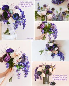 Make your own Ultra Violet Bouquet in honor of Pantone's color of the year! Purple Bouquets, Bride Bouquets, Bridesmaid Bouquets, Flower Bouquets, Diy Wedding Bouquet, Floral Wedding, Diy Bouquet, Blue Purple Wedding, Wedding Flower Arrangements