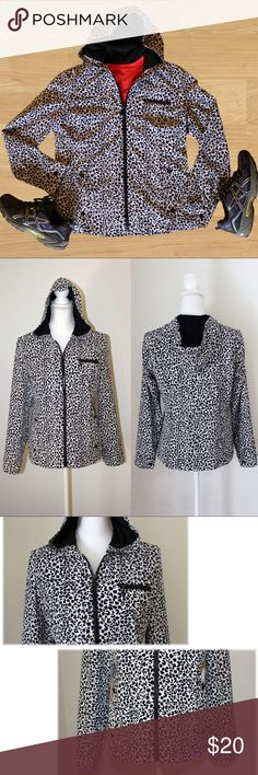"Chico's Animal Print Black and White Jacket This is both a classy and sporty jacket! Perfect for fall.   * Colors - black and white * Stretchy * Front zip * Side pockets with buttons * One chest pocket that zips * Cuffed sleeves with buttons * Fully lined * Lining and shell - 84% polyester and 16% spandex   MEASUREMENTS   * Armpit to pit 18"" * Waist 35"" * Hips 38"" * Length 23.5""  This jacket by Zenergy for Chico's is in like-new condition and has no flaws. It is a Chico's size 0 - which is…"
