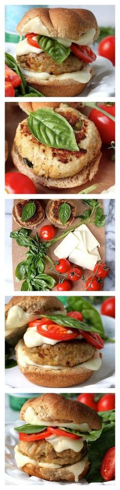 Chicken Caprese Burgers - Juicy, flavorful chicken burgers are topped with gooey mozzarella, roasted tomatoes, and fresh basil! These are a hit with everyone!!!