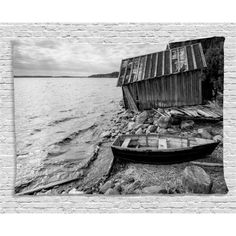 Black and White Decor Tapestry, Old Wooden Fishing Boat and Abandoned Barn on Lake Coastal Charm Picture, Wall Hanging for Bedroom Living Room Dorm Decor, 60W X 40L Inches, Grey, by Ambesonne #coastaldecor