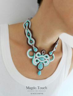 OOAK soutache necklace made for custom order mini collection 'Le petit jardin'. #soutache #necklace #modern #unique #design #magdotouch #artistic #jewelry