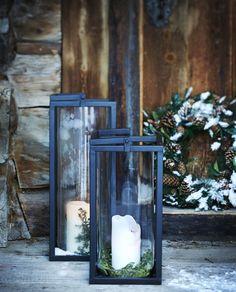 Bjorli • Slettvoll Christmas Candles, Christmas Decorations, Holiday Decorating, Hygge Christmas, Rustic Lanterns, Mountain Modern, Country Christmas, White Christmas, Modern Rustic