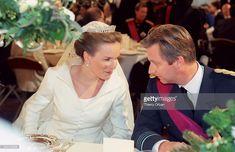 Princess Mathilde married Prince Philippe of Belgium in 1999 Royal Brides, Royal Weddings, Marriage Dress, Casa Real, Royals, Princess Madeleine, Elisabeth, Crown Princess Victoria, Royal Jewels
