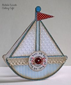 Sailboat card Perfect for that little boy/man in your life. Why not add it to the bookshelf and theme out the bedroom in these colours! Gorgeous!!! ♥♥♥