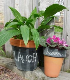 Flower pots and chalkboard paint... the possibilities are endless!