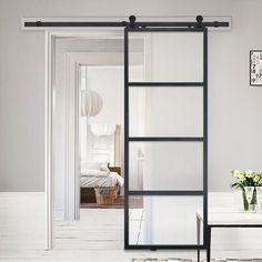 Glass Barn Doors, Sliding Glass Door, Sliding Doors, Metal Doors, Minimalist House Design, Minimalist Home, Black French Doors, Glass Room Divider, Metal Barn