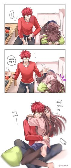 WARAABLE Funny Anime Couples, Anime Couples Hugging, Cute Couples, Anime Sweet Couple, Manga Couple, Anima Couples, Anime Coupes Cute, 707 Cosplay, Cute Couple Comics