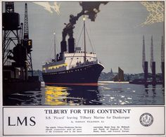 Vintage poster produced for London Midland Scottish Railway LMS to promote sea services from Tilbury to the Continent The poster shows the S S Picard Famous Marines, Dazzle Camouflage, Railway Posters, Posters Uk, Train Posters, Retro Posters, National Railway Museum, Illustration, Vintage Travel Posters