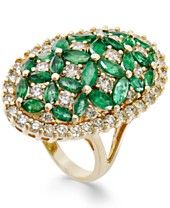 Emerald (3-1/5 ct. t.w.) and Diamond (1-3/4 ct. t.w.) Floral-Inspired Ring in 14k Gold
