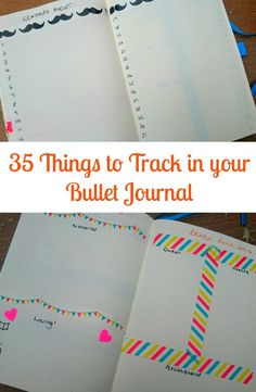 Sharing 35 things to track in your bullet journal, ideas ranging from hobbies such as books read, movies loved through to habit and fitness trackers Bullet Journal Tracker, Bullet Journal Layout, Bullet Journal Inspiration, Bullet Journals, Art Journals, Journal Prompts, Journal Pages, Journal Ideas, Bujo Inspiration