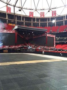 The stage in Atlanta is set up