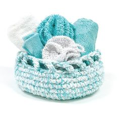 Indulge yourself with this spa set. Kit includes Scrub It and Titan yarns. Makes 1 basket (9 x 4