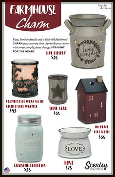 Farmhouse CHARM - Check out all of Scentsy\'s warmers and more at www.smellarific.com. Flyer By: Angela O\'Hare