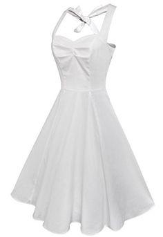 3f999fdffade Anni Coco® Women's Halter Polka Dots 1950s Vintage Swing Tea Dresses White  Medium