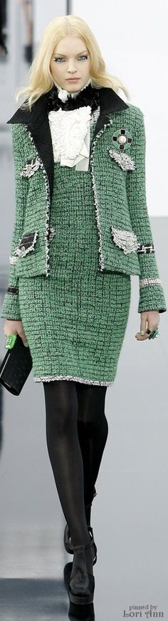 Chanel ~ Fall Sage Green + Black Tweed Dress/Jacket 2009