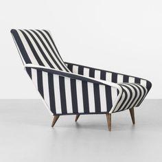 Lounge chair by Gio Ponti. Silk, Walnut, 1953.