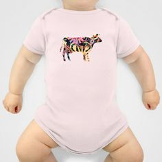 COW - P3A-2 Onesie by Pia Schneider [atelier COLOUR-VISION] - $20.00 #animals #cow #farmanimals #popart #graphicdesign #pattern #mixedmedia #textures #geometric #piaschneider #ateliercolourvision #art #vector #collage #surrealism #onesies #baby #babytees #clothing #babyclothing