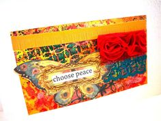 Watercolor Mixed Media Original 5x7 Choose Peace Red by bonnierose, $29.95