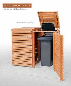 garbage bin CUBUS 120 + 240 liter – hardwood FSC natural oiled – high quality – al jardín y huerto – Ansicht Garbage Can Storage, Storage Bins, Recycling Storage, Deck Storage, Outdoor Projects, Garden Projects, Backyard Patio, Backyard Landscaping, Backyard Privacy