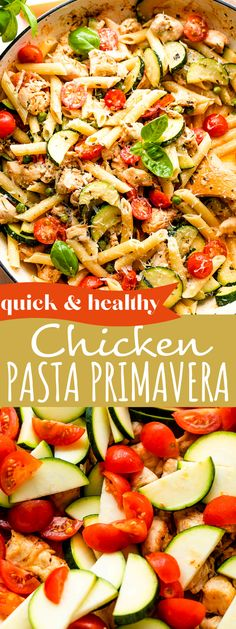 Tender, white meat chicken and a medley of veggies comes together in this healthy Chicken Pasta Primavera recipe. The creamy sauce is out of this world! Healthy Chicken Pasta, Healthy Pastas, Healthy Cooking, Cooking Recipes, Healthy Recipes, Oven Chicken, Meal Recipes, Turkey Recipes, Chicken Salad