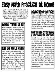 FREE download!  This is a letter that I send home every year with some easy tips parents can use for practicing math at home.  Practical, everyday exercises that can help kids learn more.