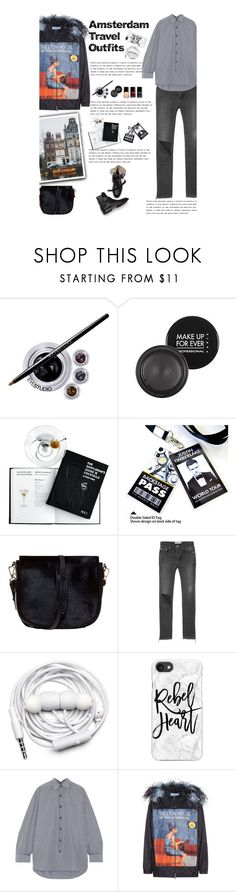 """Amsterdam Travel Outfits"" by amimcqueen ❤ liked on Polyvore featuring Maybelline, MAKE UP FOR EVER, Chanel, Nomadic, Balenciaga, Urbanears, Casetify and Prada"